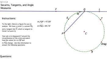 Secants, Tangents, and Angle Measures GSP Discovery Activity