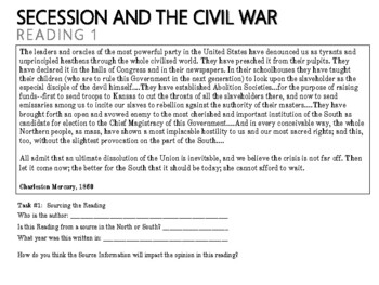 Secession and the Civil War - Document Activity