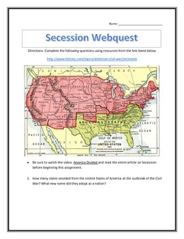 Secession of the Confederacy- Webquest and Video Analysis with Key
