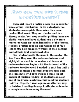 Second 100 Fry High-Frequency Word Practice Pages