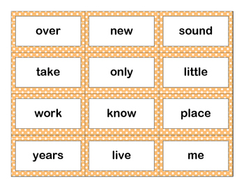 Second 100 Fry Sight Words Flash Cards