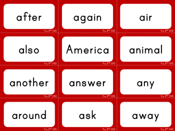 Second 100 - Fry Sight Words - Flash Cards