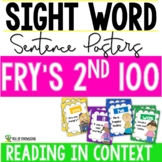 Second 100 Fry Sight Words {Sentence Posters} K-G2