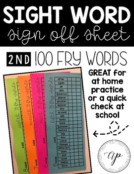 Second 100 Fry Word Check Off Sheet -