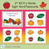 Second 100 Fry Words Flash Cards Fall Theme
