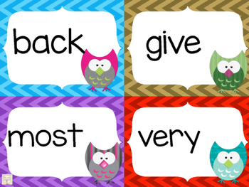 Set 2 of 100 High Frequency Sight Words: Chevron Owl Word Cards