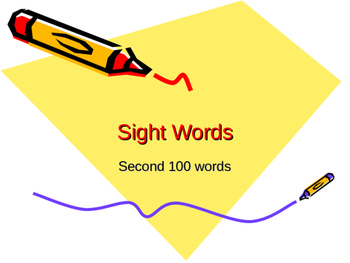 Second Set of 100 sight words on power point