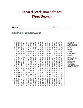Second (2nd) Amendment Word Search