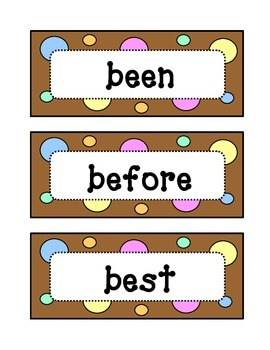 Second 2nd Grade Dolch Sight Word Wall - Dots & Pastel, Chocolate Brown Theme