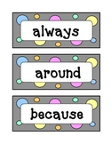 Second 2nd Grade Dolch Sight Word Wall - Dots & Pastel, Grey Theme