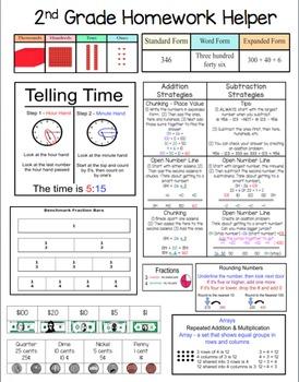 Second (2nd) Grade Math Homework Helper - Common Core