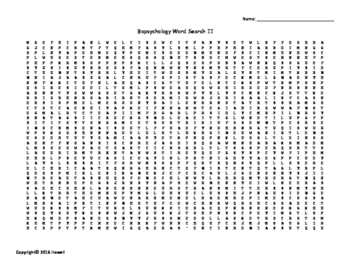 Second Biopsychology Vocabulary Word Search for Psychology