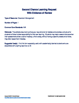 Second Chance Learning Request with Evidence of  Review