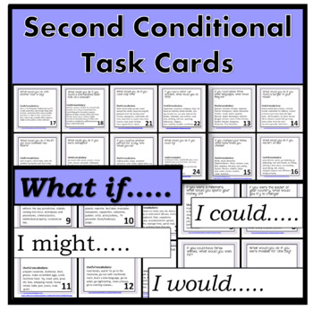 Second Conditional TASK CARDS for speaking - PPT included - EDITABLE