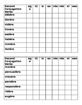 Second Conjugation Latin verbs Connect 4 game