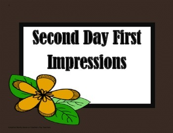 Second Day First Impressions - 5th Grade Trifolds+Activities
