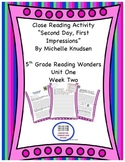 """""""Second Day First Impressions"""" Reading Wonders 5th Grade Unit 1 Week 2"""