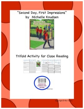 """Second Day First Impressions""  Trifold Activity Reading W"