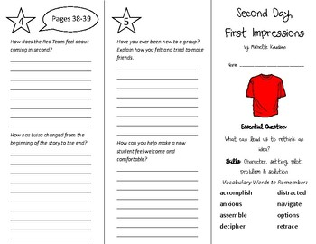 Second Day First Impressions Trifold - Wonders 5th Grade Unit 1 Week 2