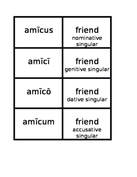Second Declension nouns in Latin Concentration games