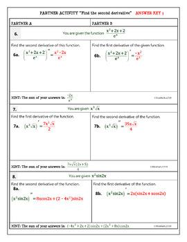 Calculus Differentiation : Second Derivative - Partner Activity
