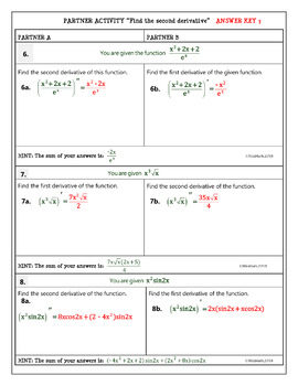 Calculus Differentiation : Finding the Second Derivative - Partner Activity