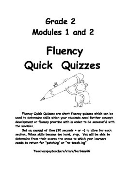 Second Grade 2 Fluency Assessment for Modules 1 and 2: Sup