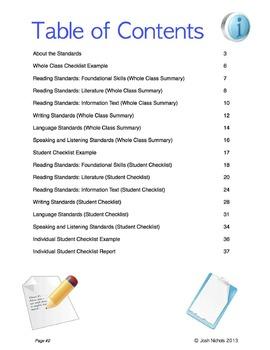 Second Grade (2nd Grade) CCSS ELA Checklist and Report Document  Common Core