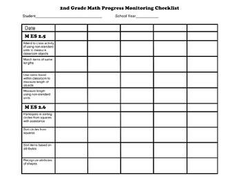 Second Grade AAA Math Checklist Progress Monitoring