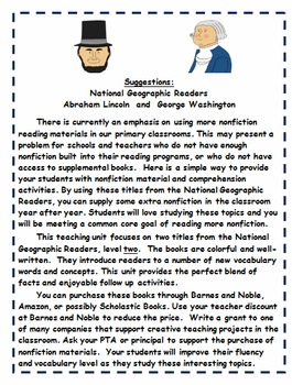 President's Day: Abraham Lincoln and George Washington Non-Fiction Activities