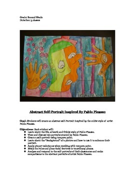 Second Grade Abstract Pablo Picasso Cubist Self-Portraits