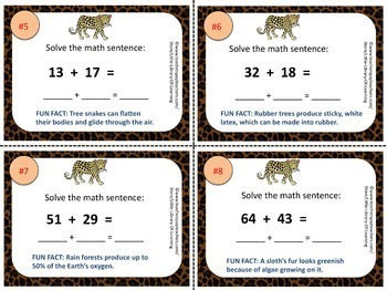 Double Digit Addition Task Cards with Jungle Fun Facts