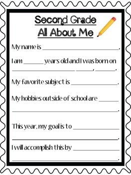 Second Grade All About Me