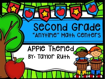 "Second Grade ""Anytime"" Apple (Fall) Themed Math Centers"