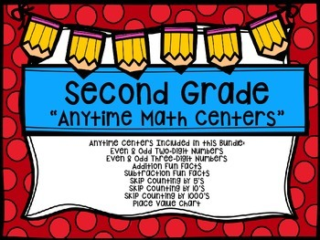 "Second Grade ""Anytime"" Back To School Themed Math Centers"