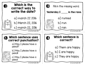 Second Grade Back to School Language Review Task Cards