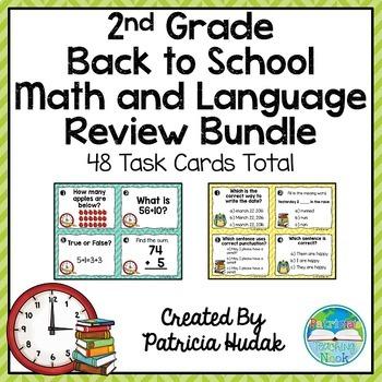 Second Grade Back to School Task Card Bundle