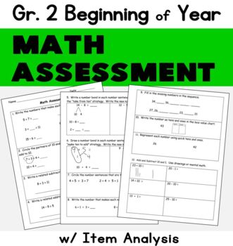 photograph regarding 2nd Grade Math Assessment Printable referred to as Starting Of 12 months Math Analysis 2nd Quality Worksheets TpT