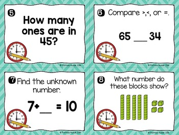 Second Grade Back to School Math Review Task Cards