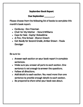 Second Grade Book Reports for each Month