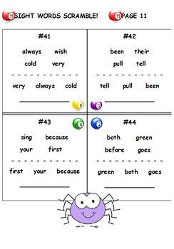 Second Grade Sight Words Bundle (28 Worksheets)