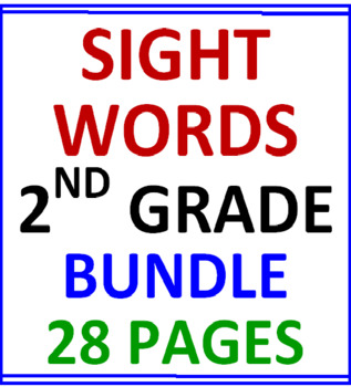 Second Grade Sight Words Bundle (28 Worksheets)