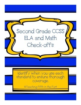 """Second Grade CCSS ELA and Math Standards """"Check Offs""""/Pacing Guide"""