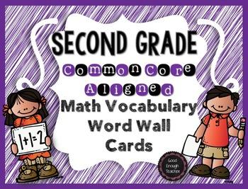Second Grade CCSS Math Vocabulary Word Wall Cards