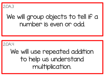 "Second Grade CCSS Math and ELA ""I can"" Cards"