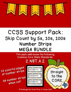 Second Grade CCSS.NBT.A.2: Skip Counting Number Strips Bun