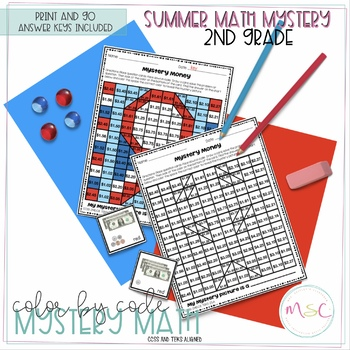 Second Grade COLOR BY CODE MATH - Summer Mystery Math