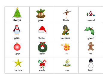 Second Grade Christmas Sight Word Bingo
