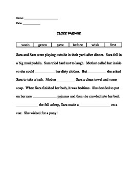 Second Grade Cloze Passage II (Comprehension)
