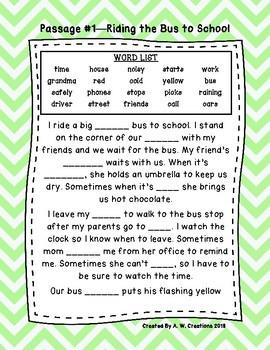 Second Grade Cloze Reading Passages Passages 1-30  ***BUNDLE***